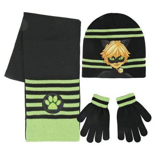 Cerda Komplet: czapka jesienna / zimowa, szalik i rękawiczki miraculum: biedronka i czarny kot