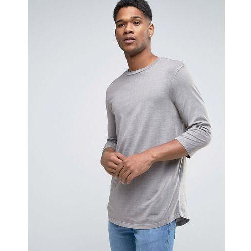 New Look T-Shirt With 3/4 Length Sleeves And Curved Hem In Stone - Stone - sprawdź w wybranym sklepie