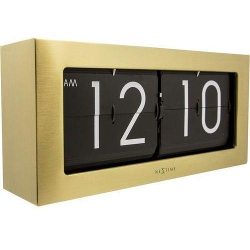 NeXtime - Zegar stojący Big Flip - złoty, kolor żółty