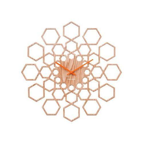 Zegar ścienny Sunshine Hexagon wood finish by Karlsson, kolor żółty