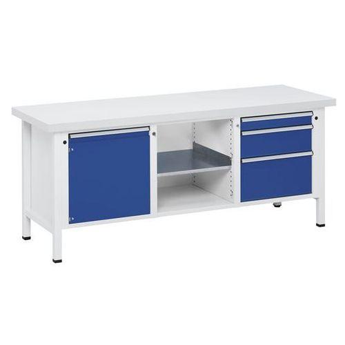 Stół warsztatowy, stabilny, 1 drzwi 540 mm, 3 szuflady, blat uniwersalny, części marki Anke werkbänke - anton kessel