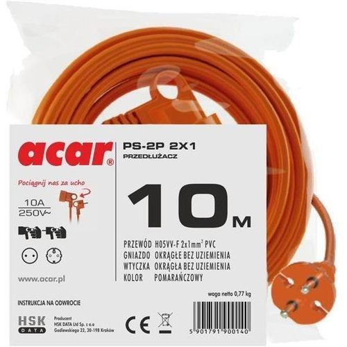 Acar Przedłużacz ps-2p 2x1 (10m)