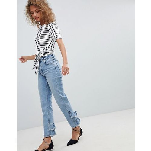 Miss Selfridge Ruffle Back Straight Leg Jeans - Blue, jeans
