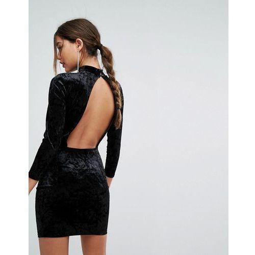open back velvet mini dress - black, Boohoo