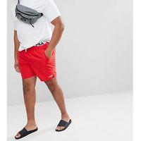plus black line swim shorts with logo waistband in red - red, Fila, XXL-XXXXL