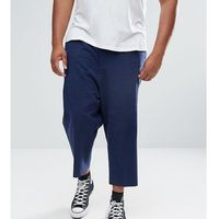 ASOS PLUS Drop Crotch Tapered Smart Trousers In Navy Textured Linen Blend - Navy