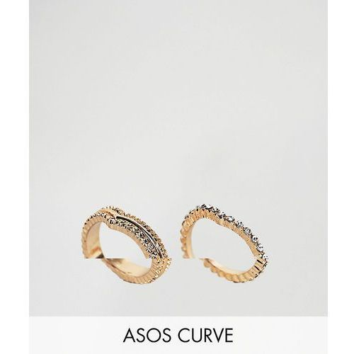 ASOS CURVE Exclusive Pack of 2 Stacking Pinky Rings - Copper, kolor różowy