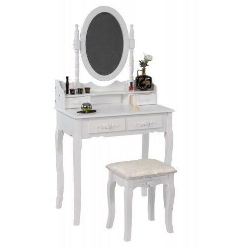 Meblemwm Toaletka kosmetyczna 140 z lustrem biała + taboret (9999001205921)