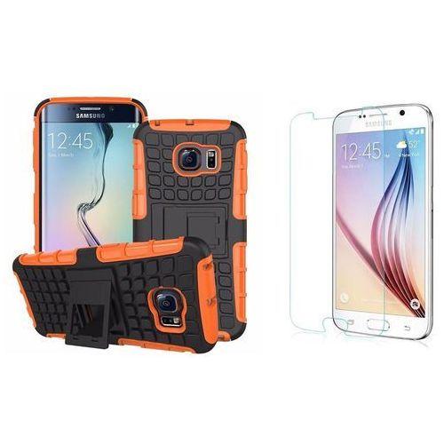 Zestaw | Perfect Armor Pomarańczowy | Pancerna obudowa + szkło ochronne Perfect Glass dla Samsung Galaxy S6