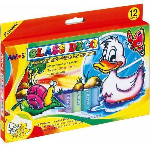 Farby witrażowe 10,5 ml x 12 kolorów gd10p12r amos - x00561 marki Kw trade