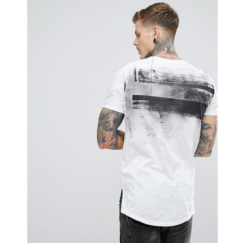 Religion Longline T-Shirt In White With Curved Step Hem And Back Print - White
