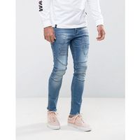 ASOS Super Skinny Jeans In Mid Wash Blue Biker With Hem Detail And Patches - Blue, jeans
