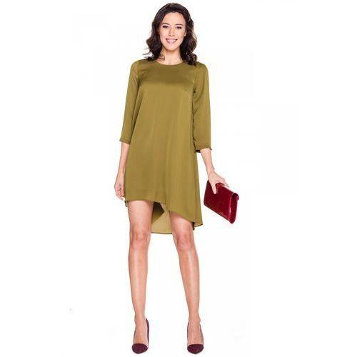 Prosta sukienka w kolorze khaki - Bialcon, 1 rozmiar