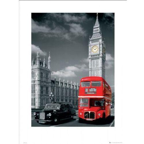 Londyn big ben czerwony autobus i taxi - reprodukcja, marki Gb