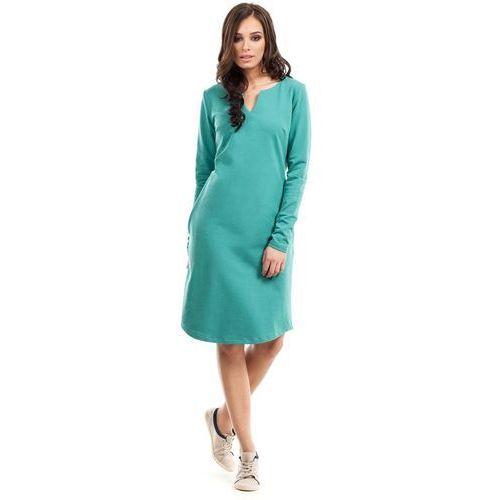 Moe Zielona sukienka trapezowa z długim rękawem