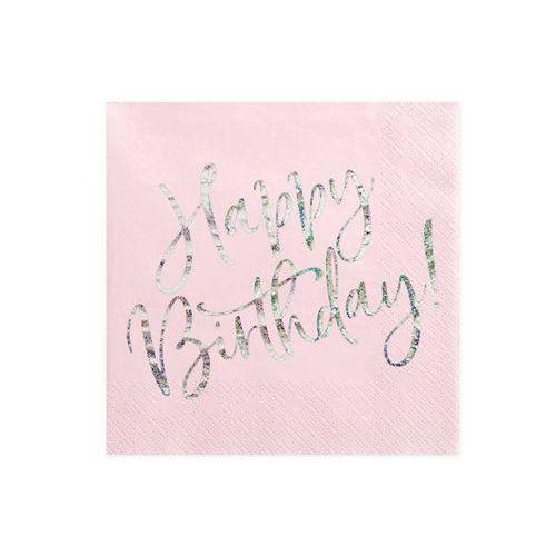 Serwetki urodzinowe jasnoróżowe Happy Birthday - 33 cm - 20 szt. (5900779112018)