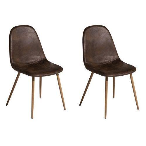 Zestaw do jadalni 2 krzesła ciemnobrązowe BRUCE (7105277437283)