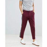 skinny crop smart trousers with fringe side stripe - pink marki Asos design