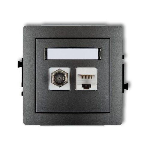 Karlik Deco gniazdko podtynkowe antenowe pojedyńcze typu f (sat) + gniazda komputerowe pojedyńcze 1xrj45, kat. 5e, 8-stykowe grafitowe 11dgfk - wysyłk