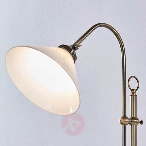 Piękna lampa stojąca Otis w kol. post. mosiądzu