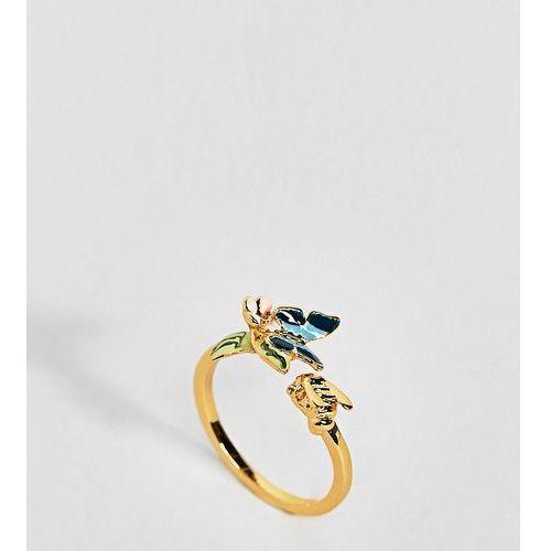 Bill Skinner Gold Plated Enamel Butterfly Ring - Gold