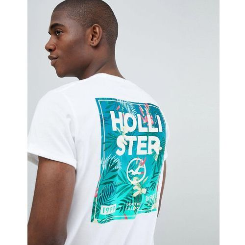 Hollister colour change chest floral logo t-shirt slim fit in white - white