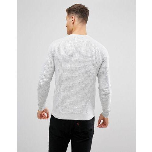 perfirated textured knit jumper - grey, Threadbare