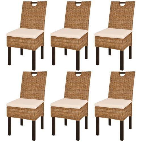 Vidaxl Krzesła do jadalni z kubu rattanu, drewno mangowe, 6 sztuk