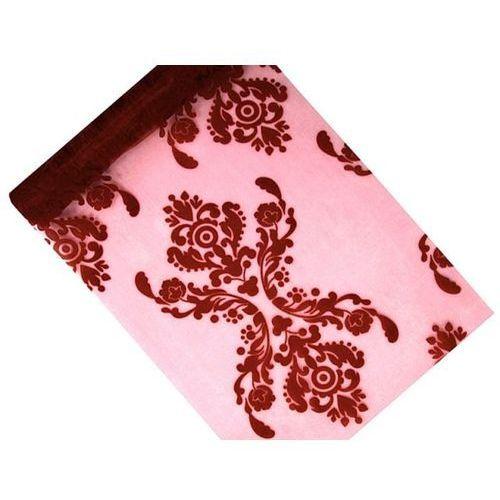 Organza z nadrukiem dwustronnym w kolorze czerwone wino - 36 cm x 9 m.