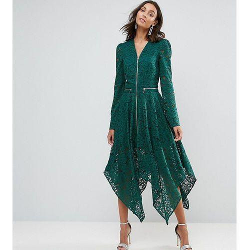 Asos tall lace hanky hem zip detail midi dress - green