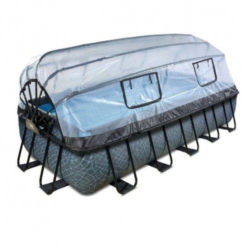 Basen Exit Stone szary prostokątny 540 x 250 cm składany dach drabinka pompa filtrująca (8719743254350)