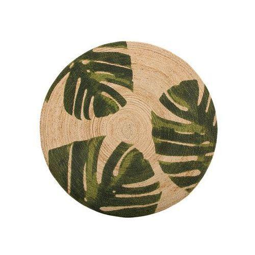 Dywan z juty w liście monstery ⌀ 140 cm beżowy z zielonym incik marki Beliani