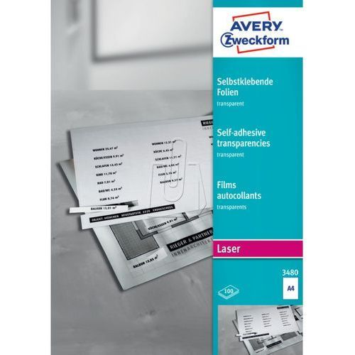 Folia samoprzylepna przezroczysta 0,14mm A4 100 arkuszy Avery Zweckform 3480, 43570