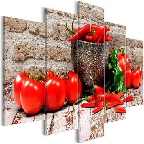 Obraz - czerwone warzywa (5-częściowy) cegła szeroki marki Artgeist