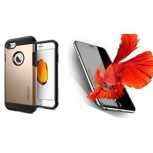Zestaw | spigen sgp tough armor champagne gold | obudowa + szkło ochronne perfect glass dla modelu apple iphone 7 marki Sgp - spigen / perfect glass