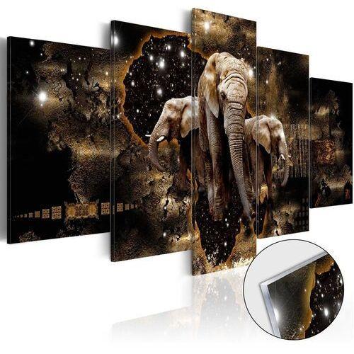 Obraz na szkle akrylowym - brązowe słonie [glass] marki Artgeist
