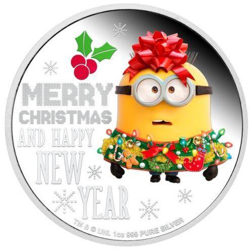 Srebrna moneta Minionki życzą Wesołych Świąt!