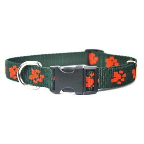 Chaba obroża taśmowa regulowana kolor: zielony w łapki pomarańczowe 16mm / 30cm (5905133609869)