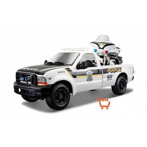 Maisto 1999 ford f-350 pickup 1/27 + 2004 flhtpi electra glide 1/24 police