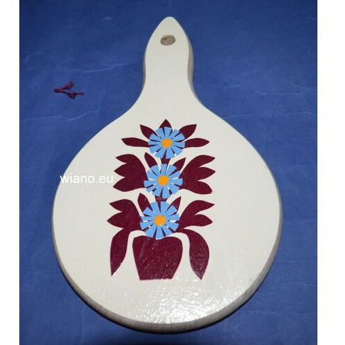Twórczyni ludowa Wycinanka ludowa, kurpiowska - kwiaty na drewnianej desce kuchennej12x20 (ww-3)