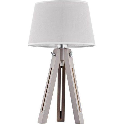 Lampa lampka drewniana z abażurem oprawa stołowa TK Lighting Lorenzo 1x60W E27 szara 2976 (5901780529765)