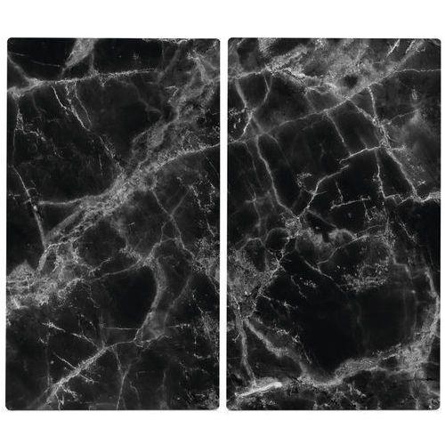 Zeller Szklane płyty ochronne marble black na kuchenkę – 2 sztuki, (4003368263144)