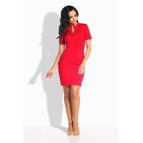 Czerwona sukienka dopasowana przed kolano z guzikami marki Lemoniade