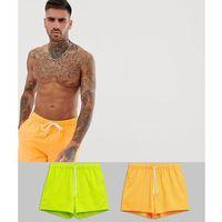Asos design swim shorts in short length in neons 2 pack multipack saving - multi