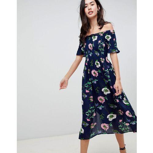Brave Soul Lavender Off Shoulder Midi Dress in Floral Print - Navy, 1 rozmiar