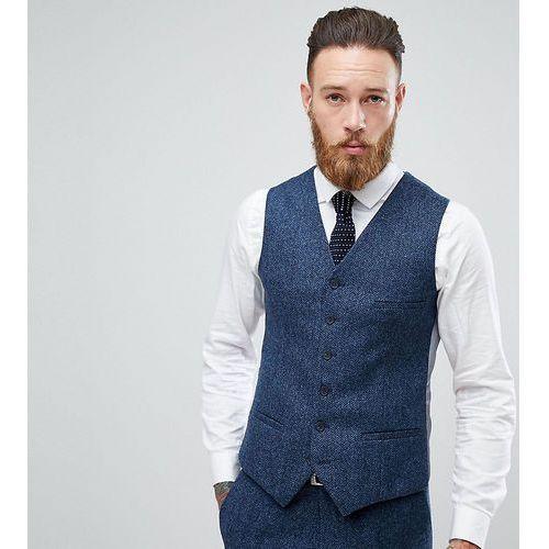 woven in england slim stretch waistcoat in herringbone tweed - navy marki Heart & dagger
