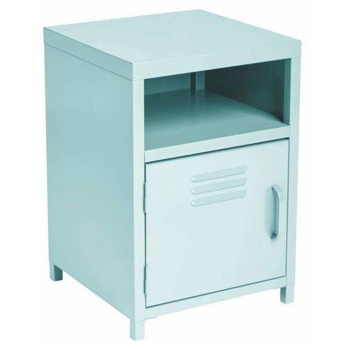 Niebieska szafka z metalu, szafka z półkami, stolik nocny, szafka metalowa, meble do sypialni, sypialnia meble, szafki nocne marki Atmosphera créateur d'intérieur