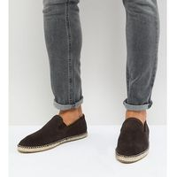 Frank wright wide fit slip on espadrilles in brown suede - brown