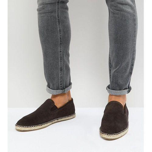 Frank Wright Wide Fit Slip On Espadrilles In Brown Suede - Brown, kolor brązowy