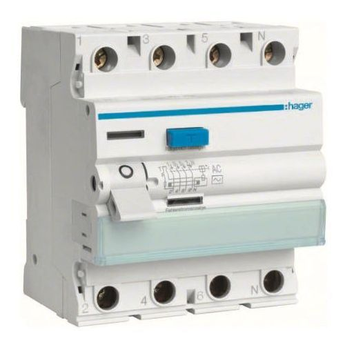 Hager - rccb wyłącznik różnicowoprądowy 4p 25a/30ma typ ac - cdc425j marki Hager - berker
